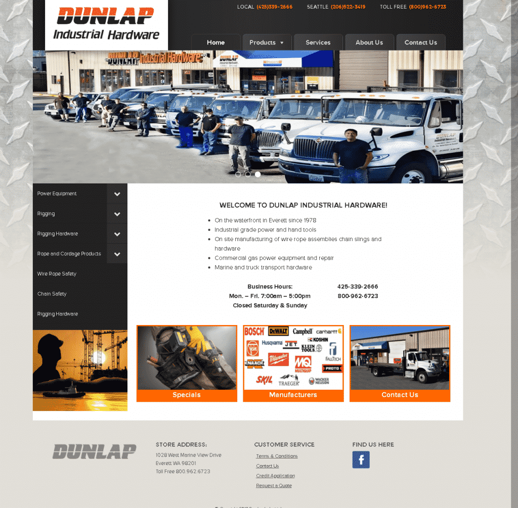Dunlap Industrial Website Screenshot