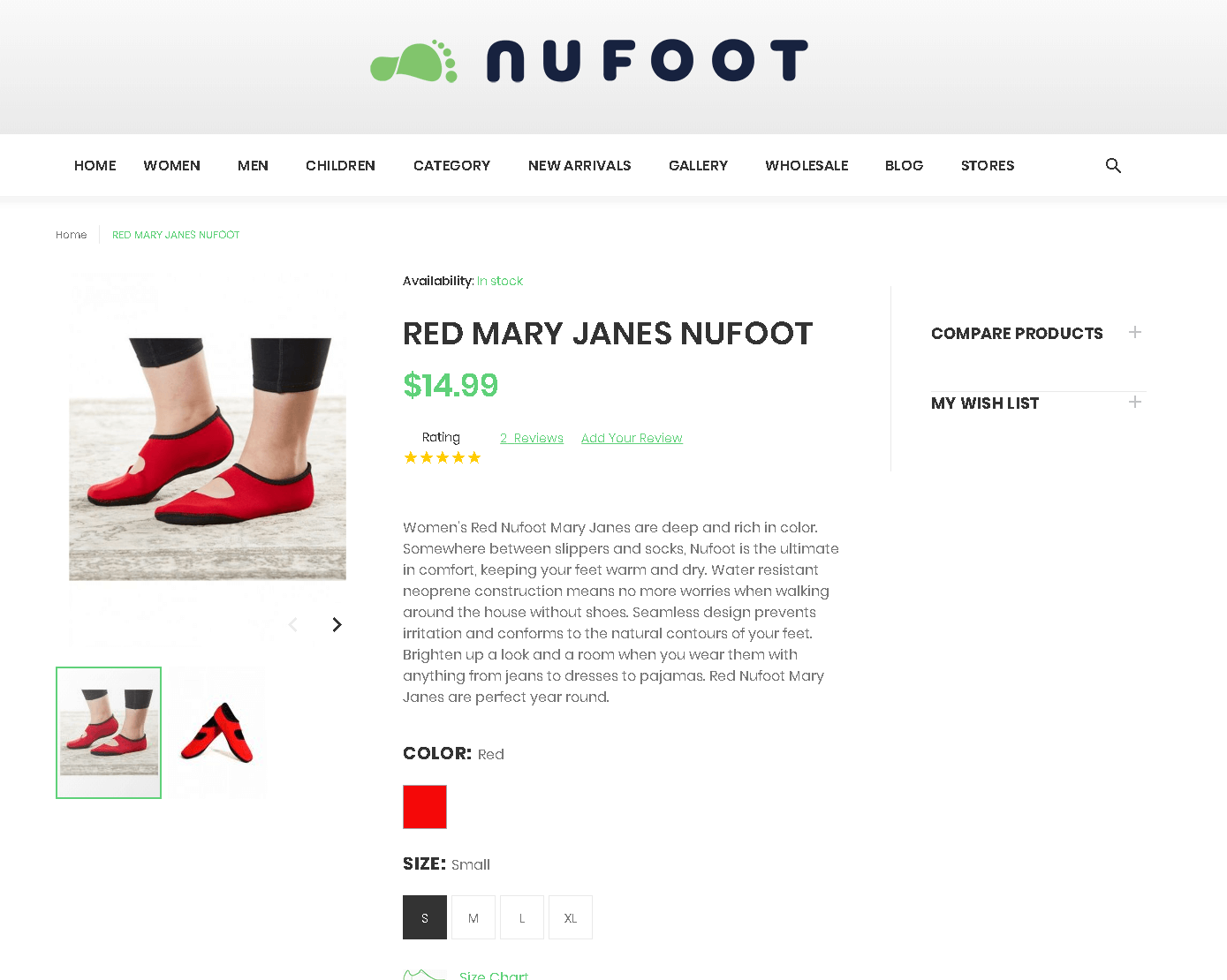 nuFoot Magento product detail page