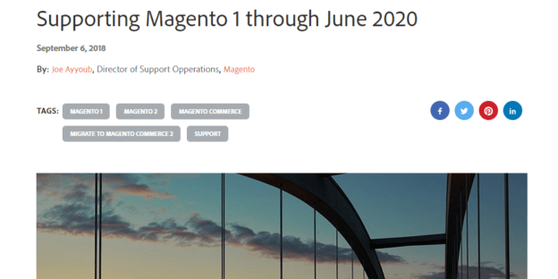 Magento End of Life Screenshot